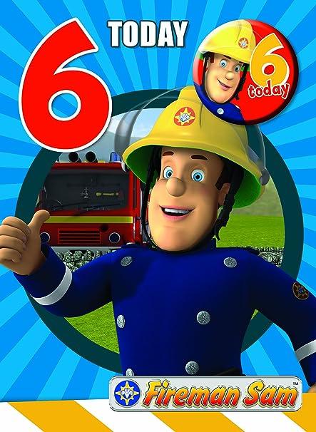 Fireman Sam FS006 - Tarjeta de 6º cumpleaños (en inglés ...