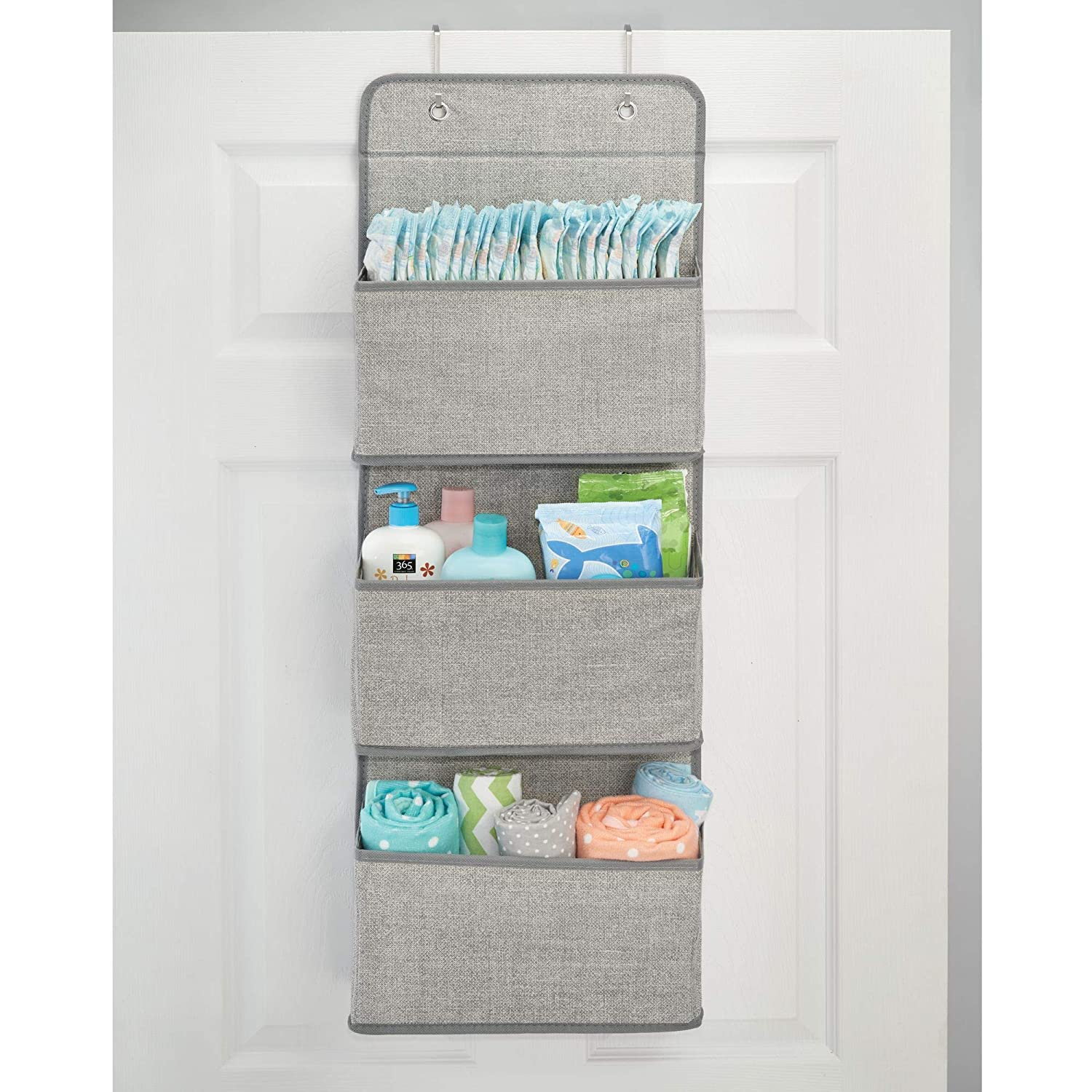 Hooks Included Gray MetroDecor 4338MDB Textured Print mDesign Soft Fabric Wall Mount//Over Door Hanging Storage Organizer 3 Large Pockets for Child//Kids Room or Nursery
