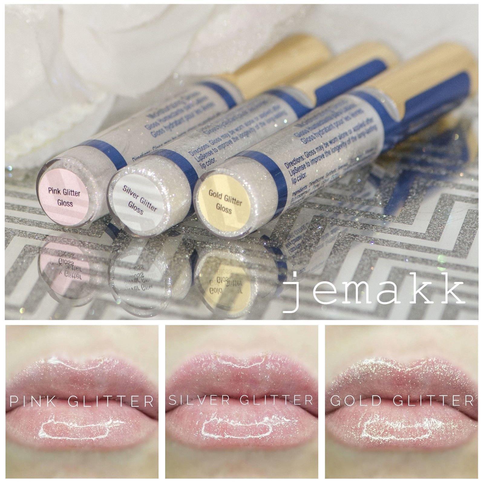 LipSense 3 Lip Gloss Gold Pink and Silver Glitter Gloss