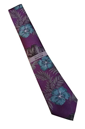 ad3cbf5f0d4e3e TED BAKER London Men s 100% Woven Silk Neck Tie - Purple   Green Floral  Print Silk Tie Design  Amazon.co.uk  Clothing