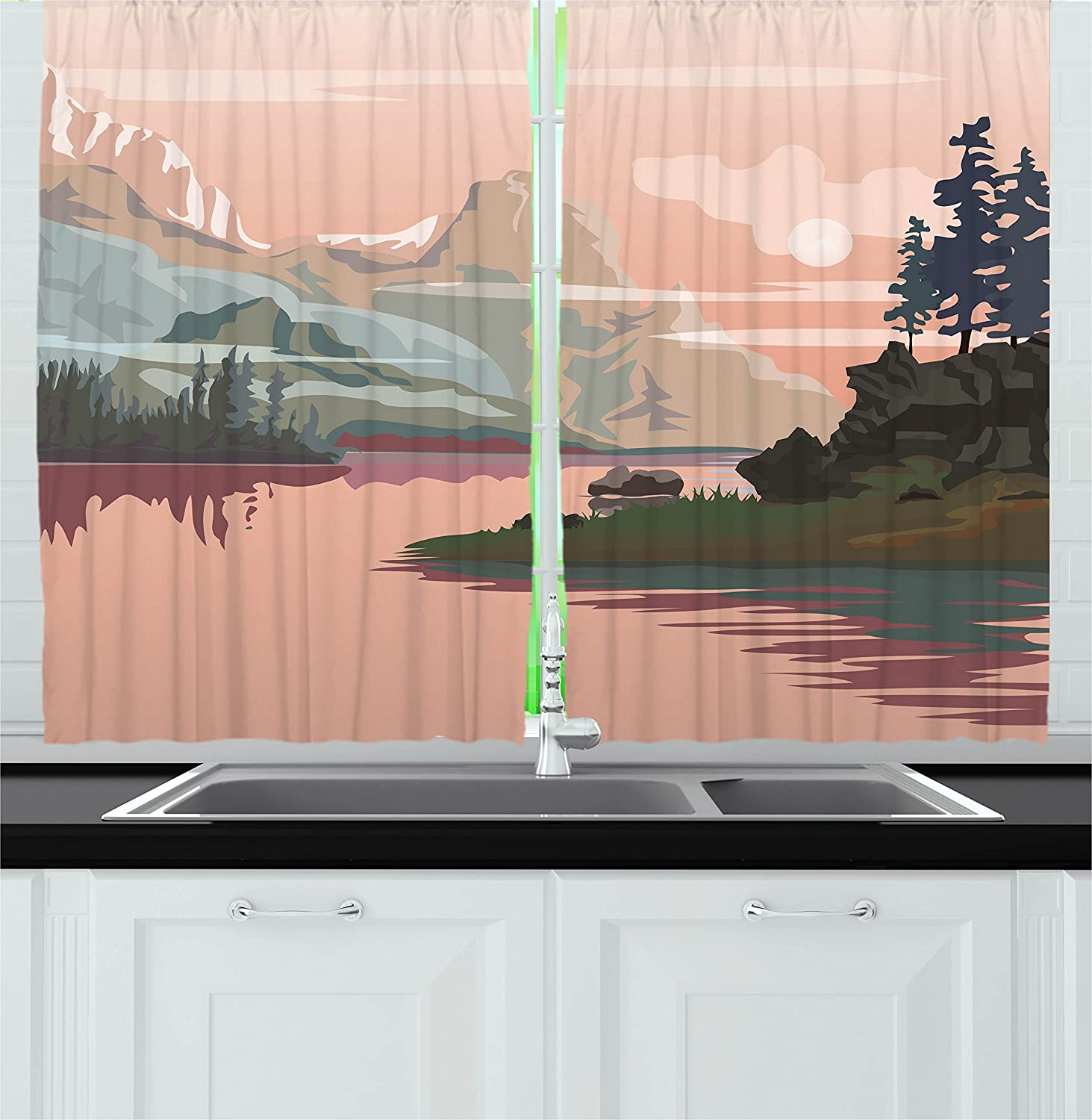 Ambesonne Nature Kitchen Curtains, Lake Valley with Mountain Paint Forest River Rocks Landscape Image, Window Drapes 2 Panels Set for Kitchen Cafe, 55W X 39L inches, Peach Light Pink Olive Green