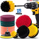 16 Piece Drill Brush Attachment Set, BRITOR Power Scrubber Drill Brush Kit with Extend Long Attachment, Scrub Pads & Sponge, Buffing Pads, Car Polishing Pad Kit