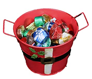 christmas candy dish santa bucket filled with over 30 pcs brand name chocolates dove - Christmas Candy Dishes