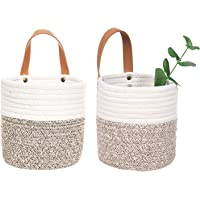 2pack Small Hanging Basket-Cotton Rope Wall Basket with Handle, Hanging Storage Basket, Shelf Baskets Storage Bin Closet…