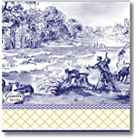 C.R. Gibson Blue, White and Gold Spode Beverage and Cocktail Napkins, 20pc, 5.5'' W x 5.5'' L