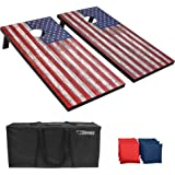 GoSports Classic Cornhole Set - Includes 8 Bean Bags, Travel Case and Game Rules (Choose between American Flag, Football, Rus