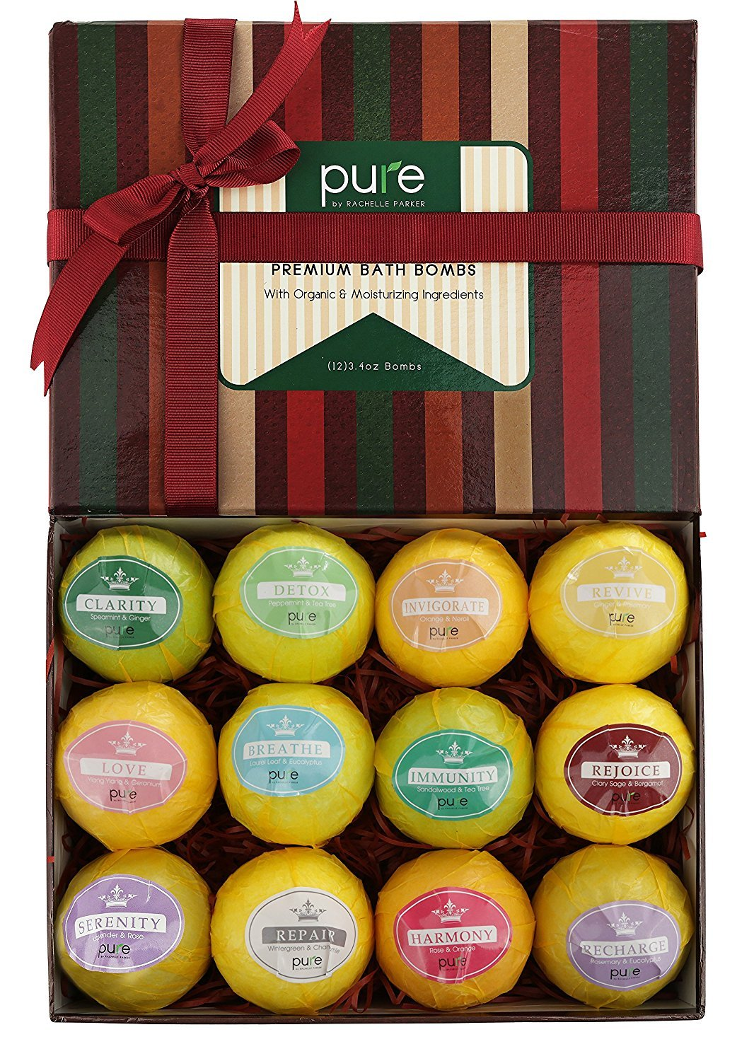 PURE Essential Oil Bath Aromatherapy! 12 Large Bath Bombs. Super-Sized Natural Bath Fizzers with Natural Ingredients, Bath Bombs Gift Kit Spa Gift Box
