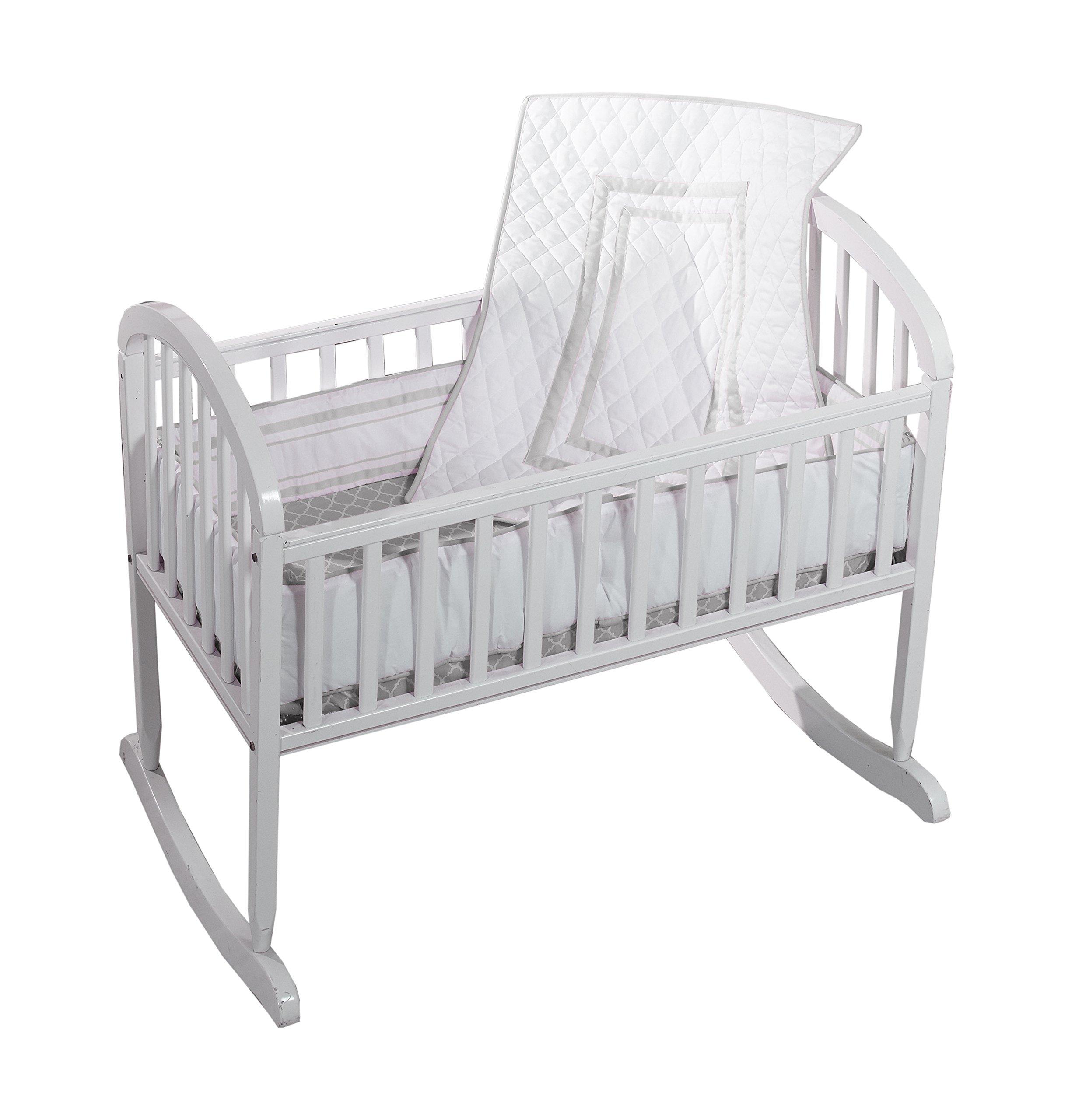 Baby Doll Bedding Soho Cradle Bedding Set with 100% cotton trellis design sheet, Grey