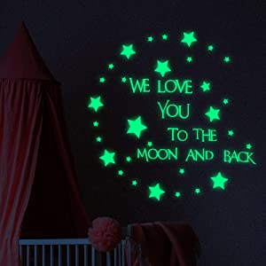 Glow in The Dark Stars Wall Stickers, Baby Nursery Wall Decal Words Sticker at Night, We Love You to The Moon and Back Wall Sticker Home Decor (Fluo Green)