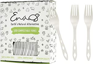 100% Compostable Non Plastic Forks [100 Pack] CPLA Disposable Forks. Non Plastic Silverware Set. Eco-Friendly Cutlery, Off White Flatware, Extra Sturdy Utensils, by Earth's Natural Alternative