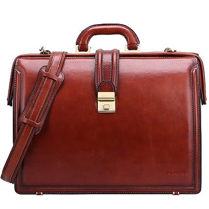 c8d937c03b41 Banuce Vintage Full Grain Leather Briefcase for Men Doctor Bag Lawyer  Attache Case Brown  Amazon.co.uk  Luggage