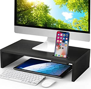 LORYERGO Monitor Stand Riser - 16.5 inch Desktop Riser for Laptop Computer, Monitor Stand Desk Organizer with Phone Holder and Cable Management, Desktop Stand for Printer & Office Supplies