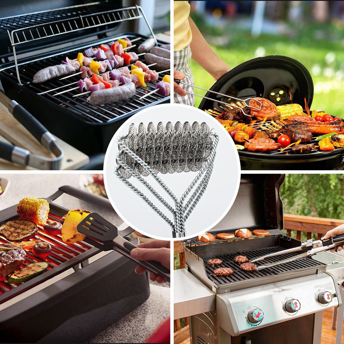Grill Brush and Scraper Grill Brush Bristle Free - Grill Brsh 18'' for Porcelain Grates Outdoor Stainless Steel Grill Cleaner Tool - BBQ Safe Scraper Barbeque Cleaning Accessories Stainl … by RuxBrush (Image #5)