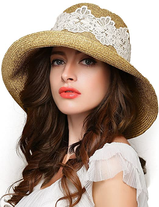 Edwardian Hats, Titanic Hats, Tea Party Hats Women Lace Wide Brim Sun Hat Foldable Floppy Summer Straw Hat $18.99 AT vintagedancer.com
