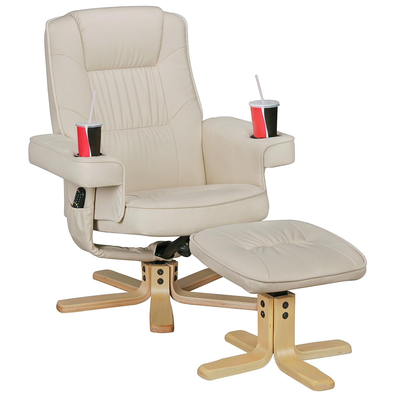 Amstyle Comfort Duo Fernsehsessel mit Getränkehalter, TV Sessel ohne Motor drehbar mit Hocker, Relaxsessel aus Kunstleder mit Armlehnen, Stuhl mit Fernbedienungshalter, Sessel mit Handyhalter beige