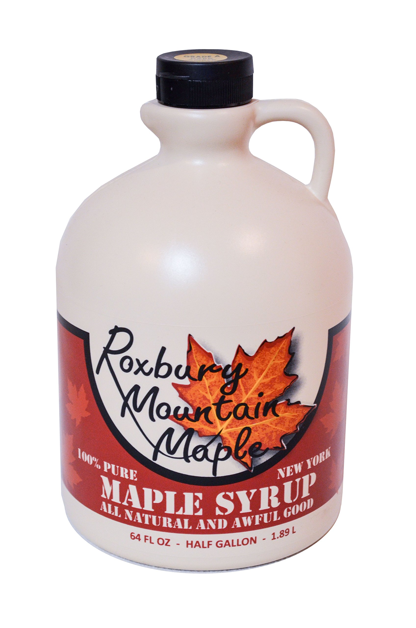 Half Gallon of Organic Grade A Dark Maple Syrup, Roxbury Mountain Maple 64 OZ