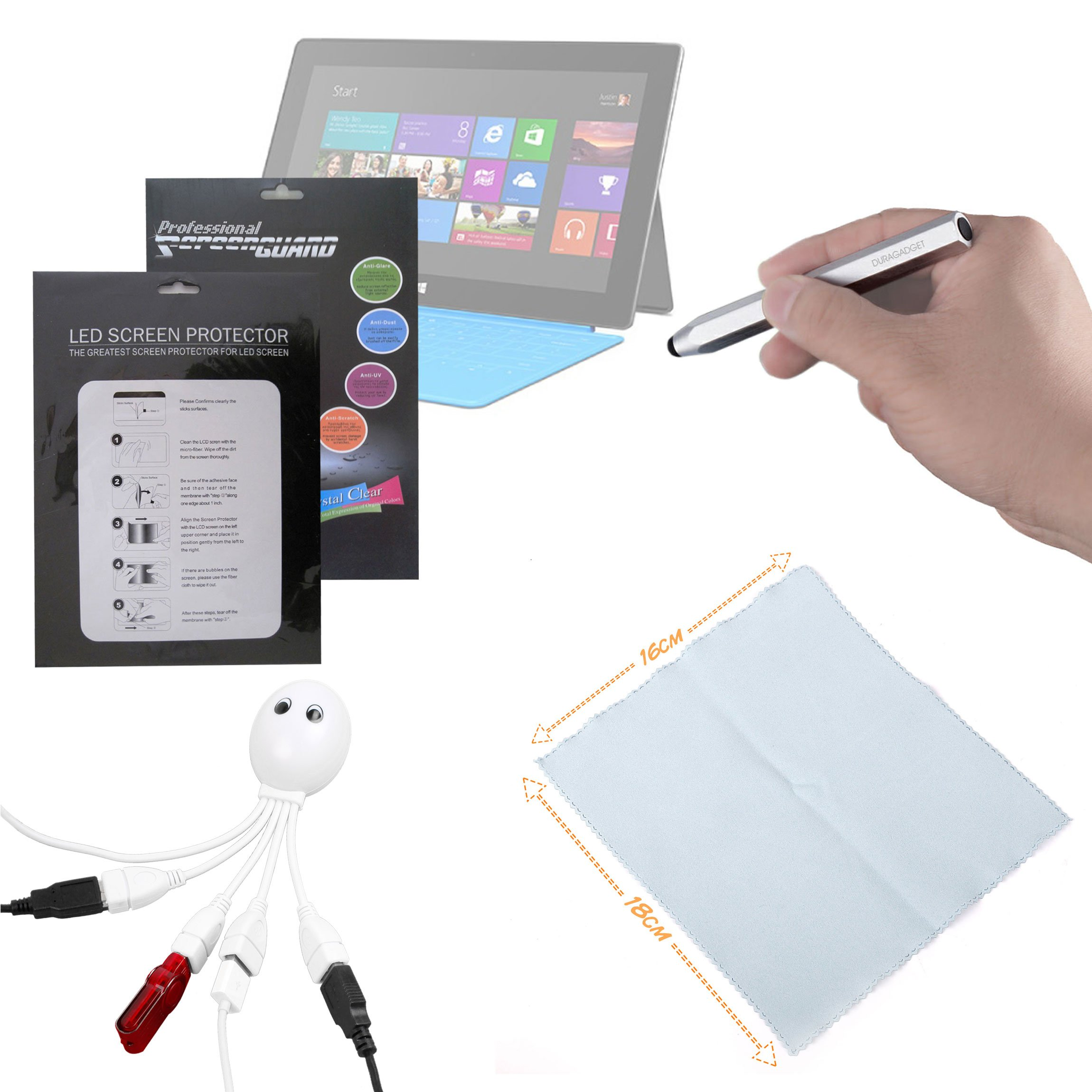 DURAGADGET Microsoft Surface Windows RT (8GB, 16GB, 32GB, 64GB, 128GB) 10.6'' Tablet Accessory Kit: High Quality Clear Screen Protector Guard + BONUS : Silver Chunky Stylus + Cleaning Cloth + Octopus USB Hub