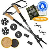 Hitrek Hiking Poles - Lightweight Telescopic Non Slip Trekking Sticks for Men & Women - Ultralight Aluminium & Extra Strong Flip-Locks to Prevent Pole Slippage When Walking - 1 Pair - Black