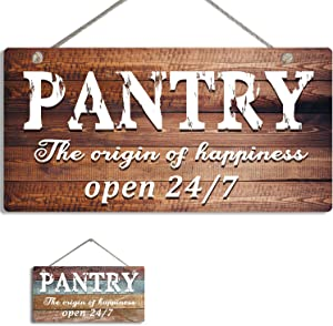 Pantry Sign Wall Decor for Kitchen, Rustic Home Decor Pantry Sign for Door - Farmhouse Wall Art Decor Sign - Pantry the origin of happiness open 24/7
