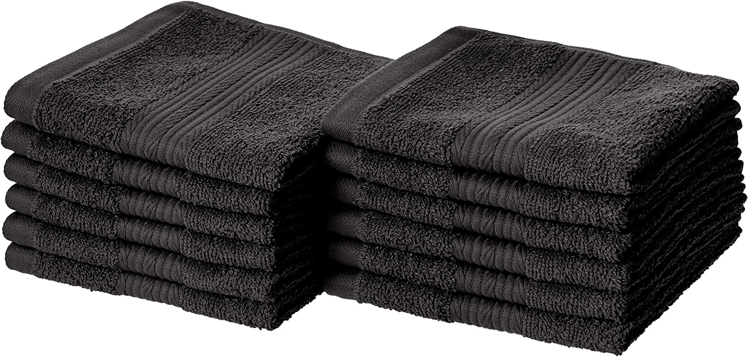 AmazonBasics Fade-Resistant Cotton Washcloths - Pack of 12, Black
