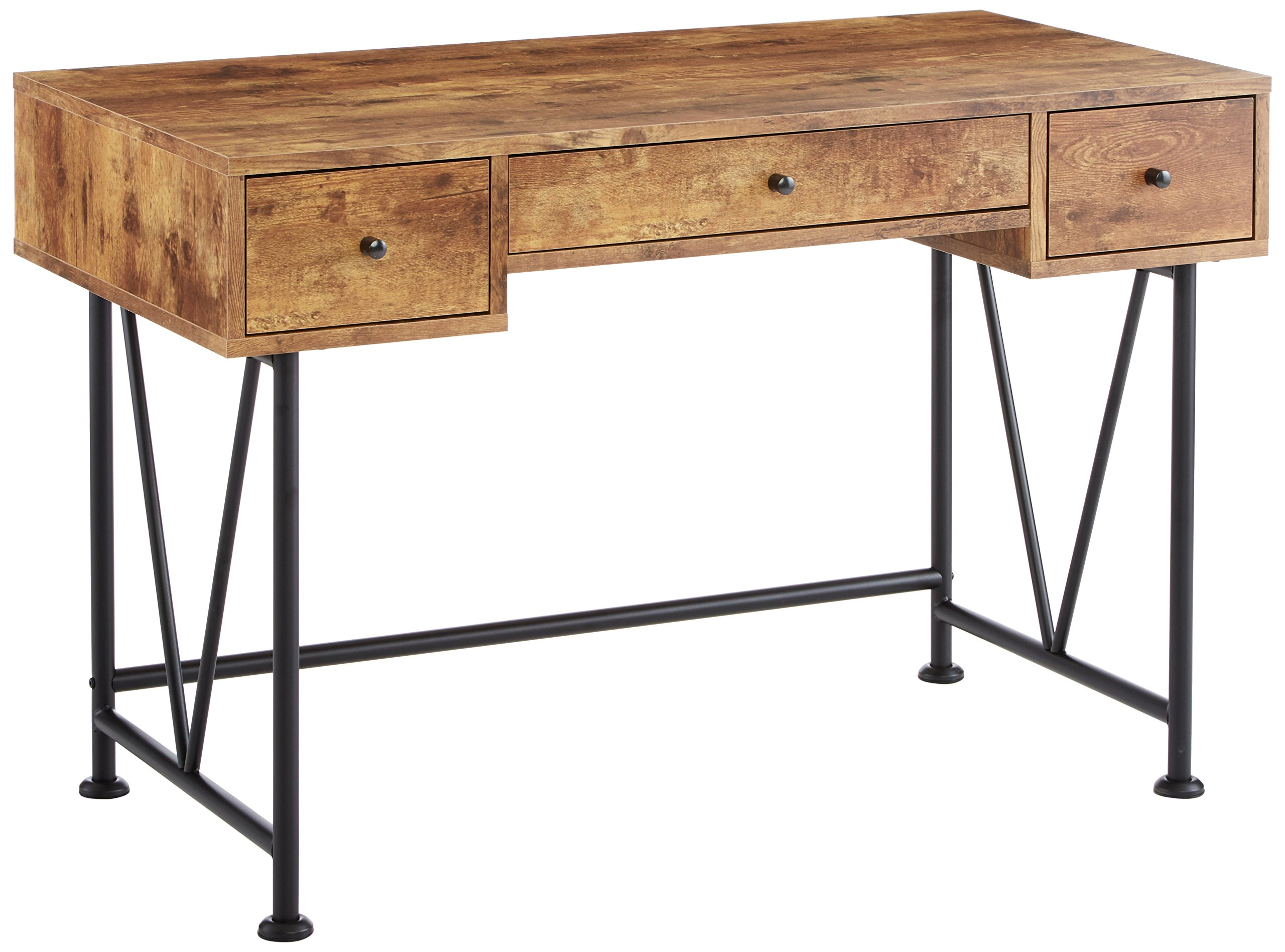 Coaster Home Furnishings  Analiese Modern Rustic Industrial Three Drawer Writing Desk - Antique Nutmeg