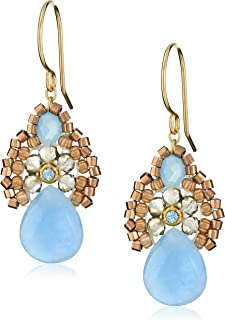 """product image for Miguel Ases Blue Jade and Smoky Created Quartz Drop Earrings, 1.4"""""""