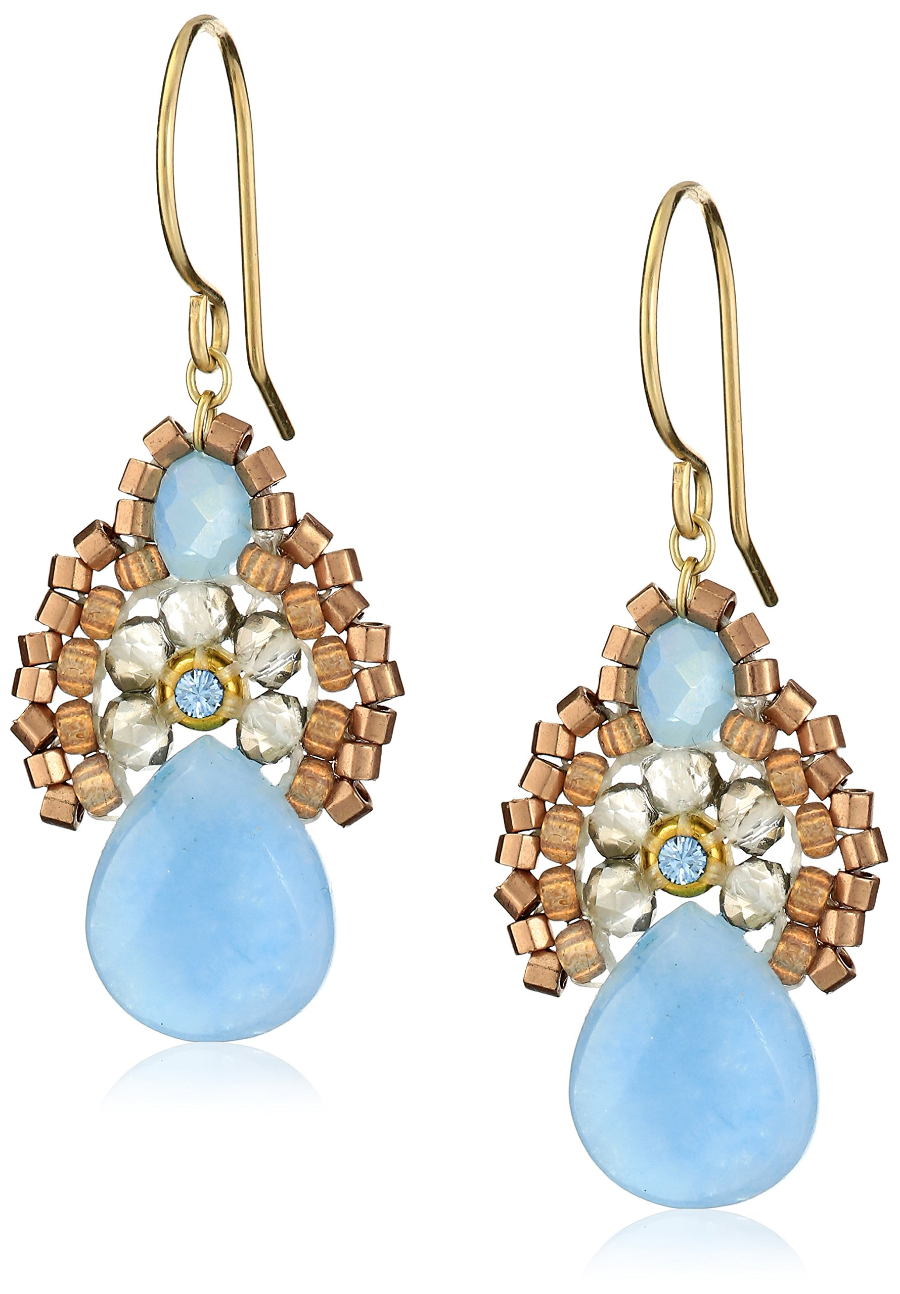 Miguel Ases Blue Jade and Smoky Created Quartz Drop Earrings, 1.4''