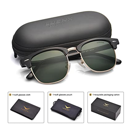 7a44a9ca25 Image Unavailable. Image not available for. Color  LUENX Men Semi Rimless Polarized  Sunglasses Women UV 400 Protection Grey green Lens Classic Frame 51MM