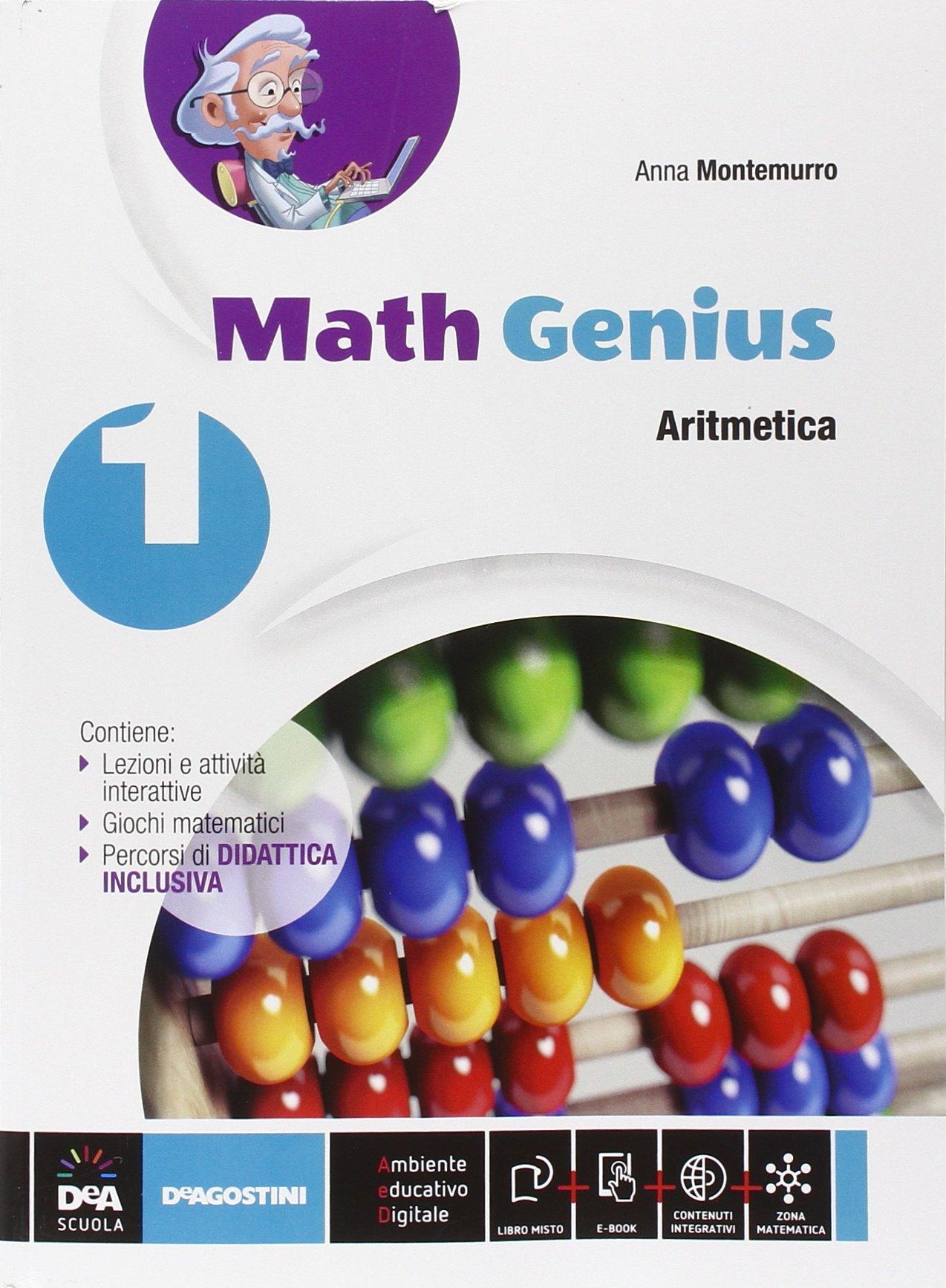 Math Genius Aritmetica + Geometria + Palestra delle competenze, libri di matematica per la scuola media