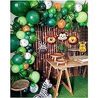2019 Upgrade Jungle Safari Theme Party Supplies, 102 PCS Balloon Garland Kit, Favors for Kids Boys Birthday Baby Shower…