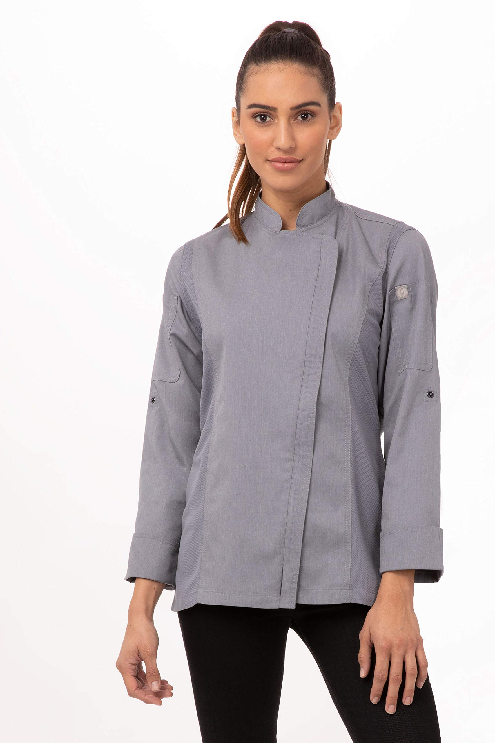 Chef Works Women's Hartford Chef Coat, Gray, XS by Chef Works