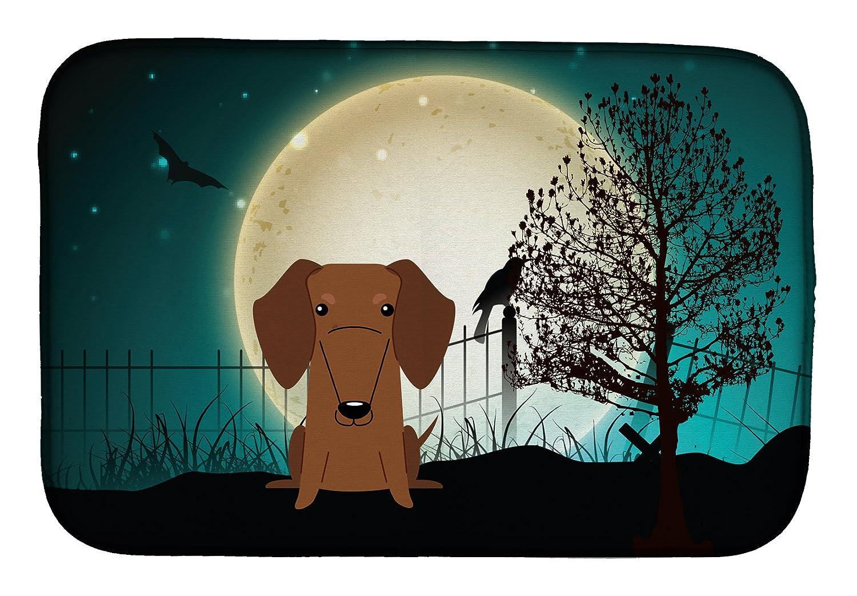 Caroline 's Treasures bb2320ddm Halloween Scaryダックスフンドレッドブラウンディッシュ乾燥マット、14 x 21、マルチカラー   B07C9BV7PL