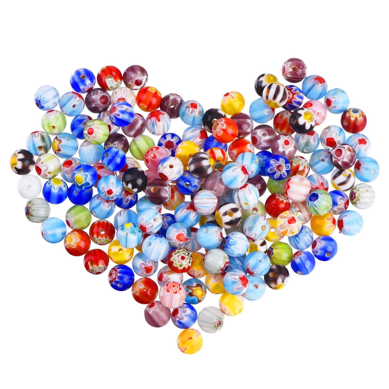 Sumind 200 Pezzi Perline in Vetro Millefiori Rotondo Perline Colorate Cristalli di Vetro con Fiore Singolo per Fabricazione di Gioielli Bricolage Fai da Te Perline Forniture Taglia 1