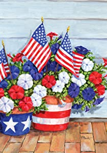 "Toland Home Garden 119616 Patriotic Pansies 12.5 x 18 Inch Decorative, Garden Flag (12.5"" x 18"")"