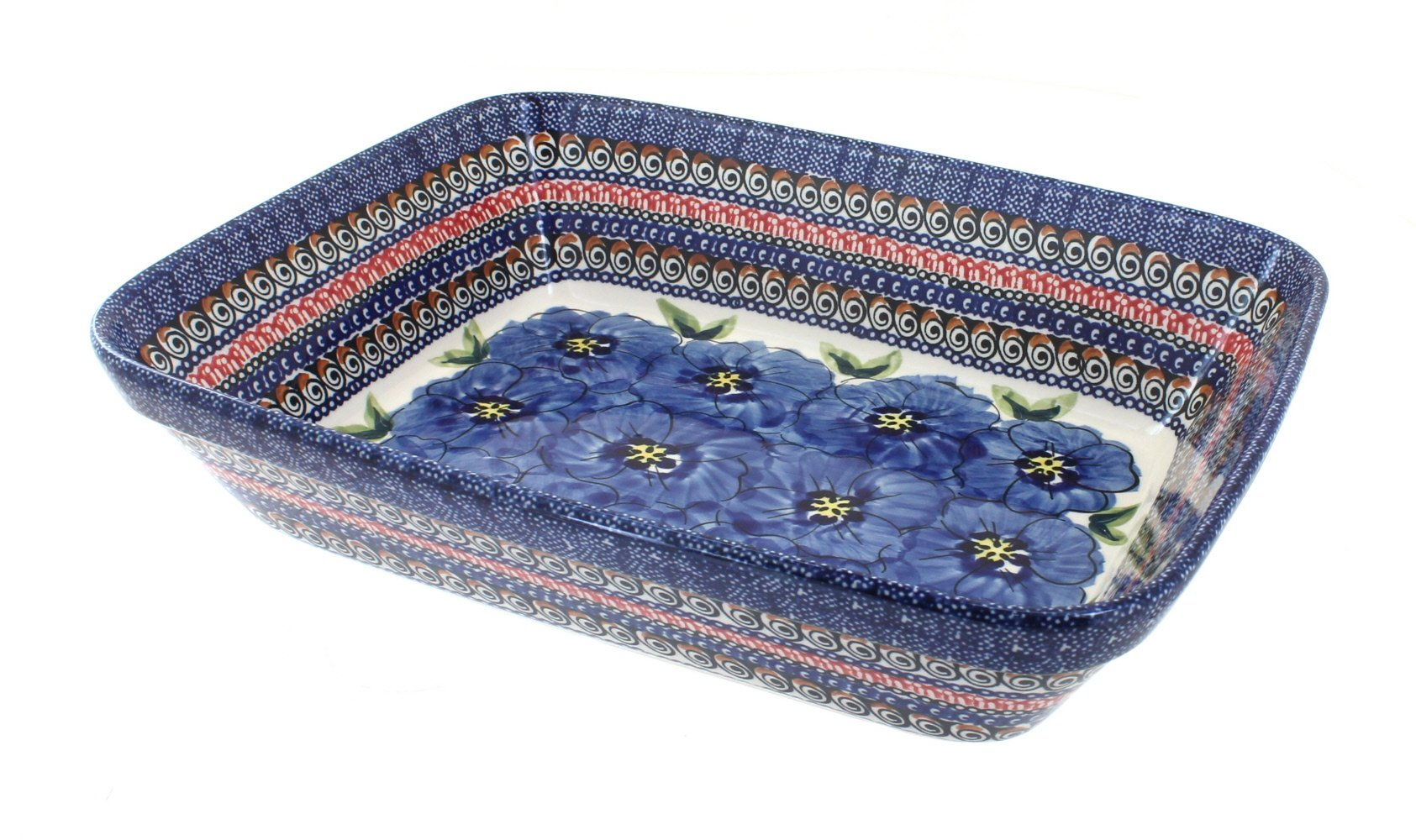 Polish Pottery Blue Art Large Deep Rectangular Baker