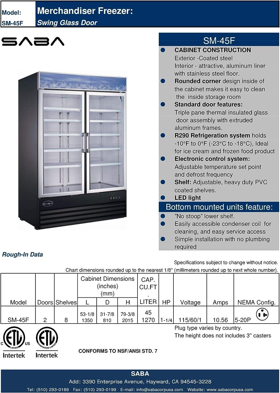 SABA SM 45F Two Glass Door Freezer