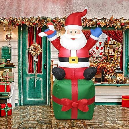 Matefield Hinchable Navidad Papá Noel Hinchable Santa Claus Inflable de Papá Noel al Aire Libre Navidad Decoración Casa para Jardín Casa Interior o ...
