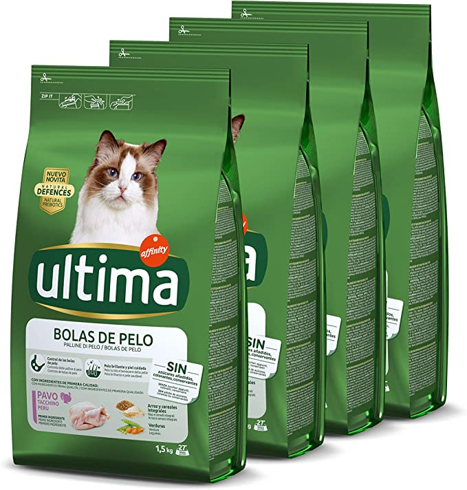 ultima Pienso Para Gatos Para Prevenir Bolas De Pelo Con Pavo 4 x 1.5 kg: Amazon.es: Productos para mascotas