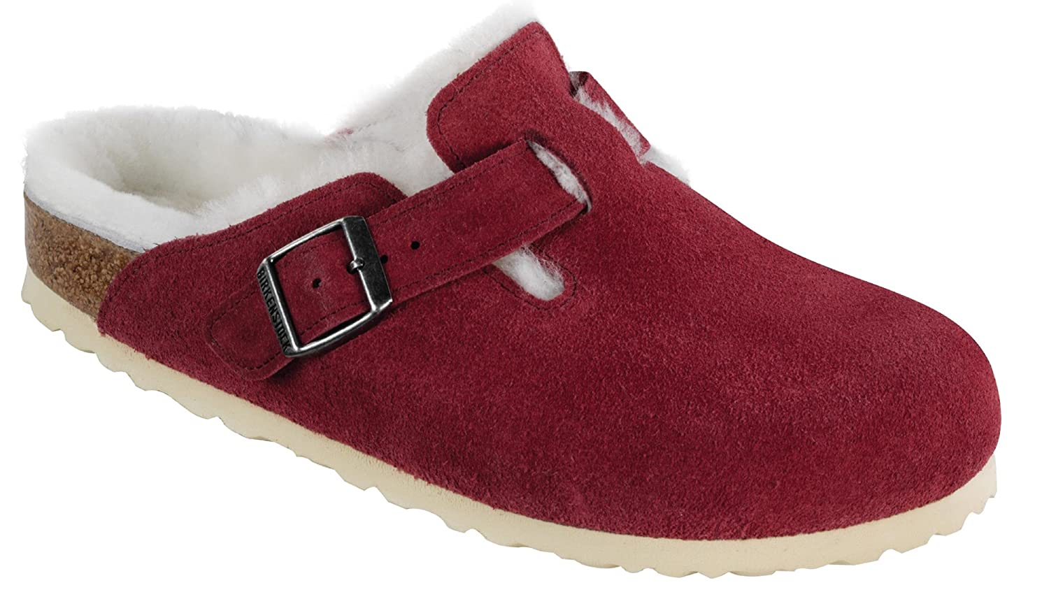7f217397a Birkenstock Women's Boston Shearling Clog Bordeaux Suede Size 38 M EU:  Amazon.co.uk: Shoes & Bags