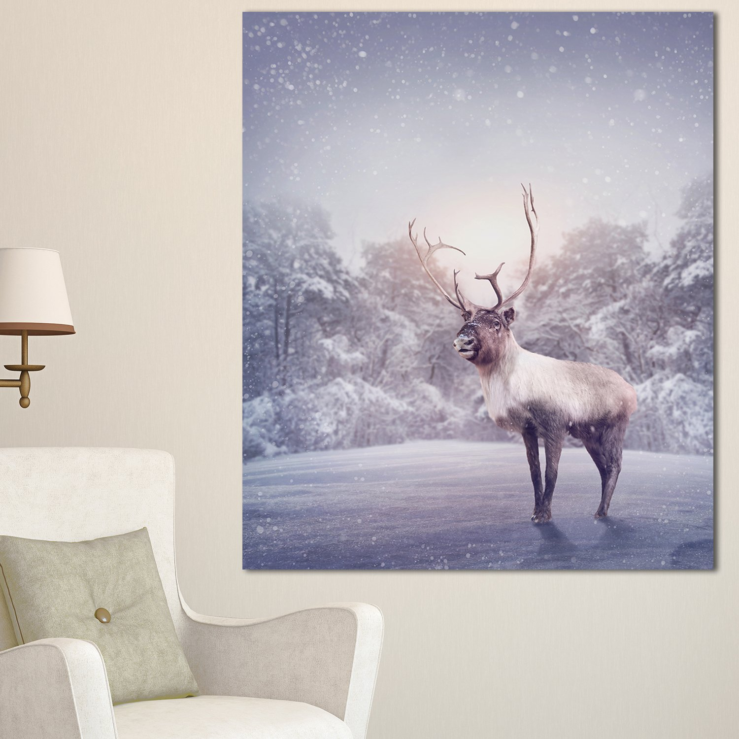Buy Designart Mt12789 30 40 Huge Reindeer Standing In Snow Extra Large Animal Metal Wall Art 30x40 Grey 30x40 Online At Low Prices In India Amazon In