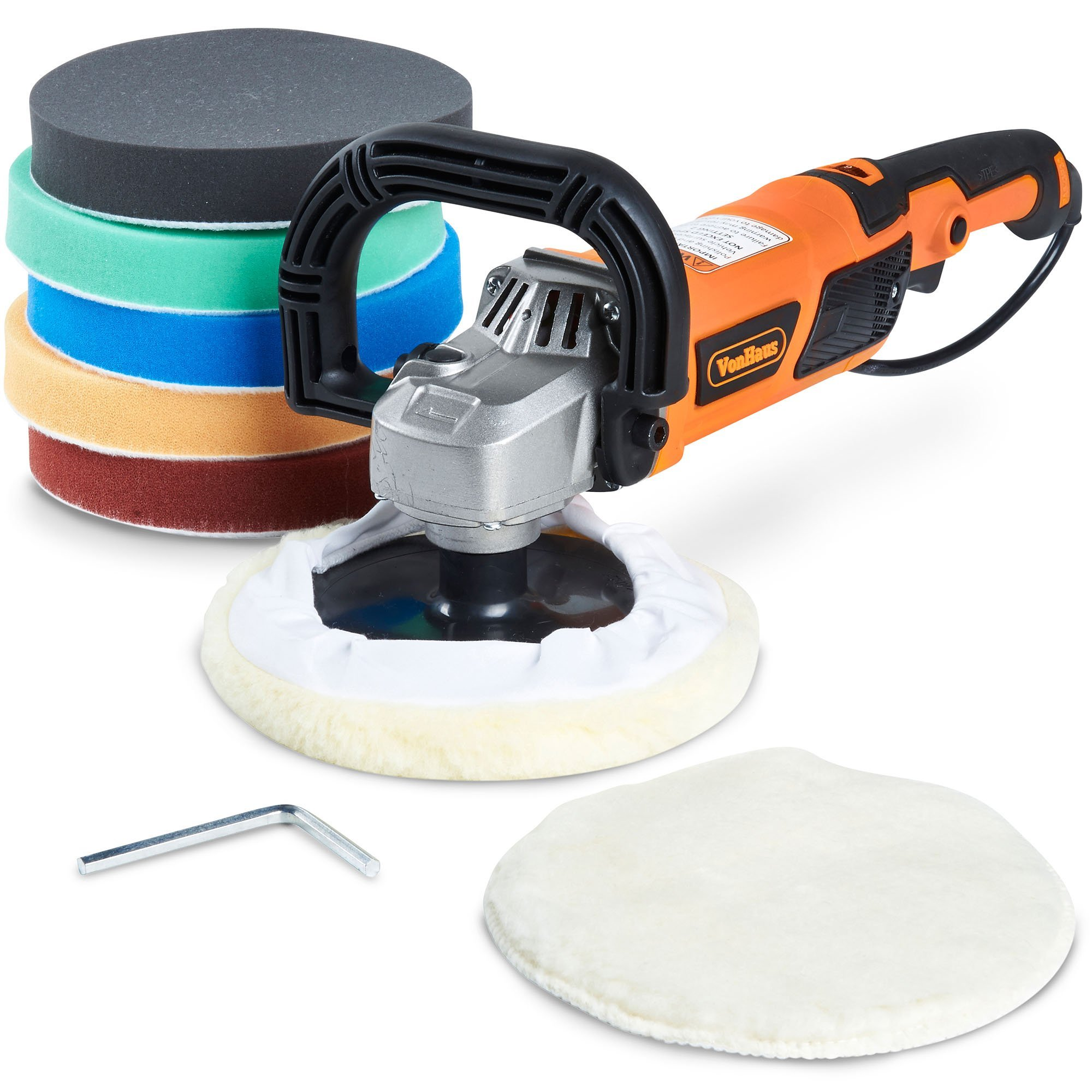"""VonHaus 10-Amp Electric 7"""" Polisher/Buffer / Finishing Machine & Accessory Kit with 6 Variable Speeds and 7 Pads to Buff, Polish, Smooth and Finish – 600-3000 RPM Ideal for Cars, Boats and Tiles"""