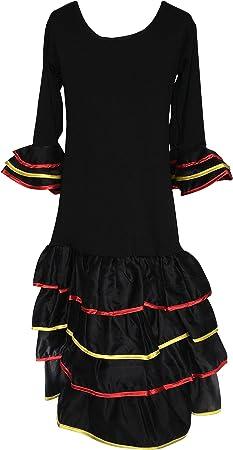 La Senorita Vestido Flamenco España Traje de Flamenca Chica/niños Negro (Talla 6, 104-110 - 75 cm, 5/6 años)
