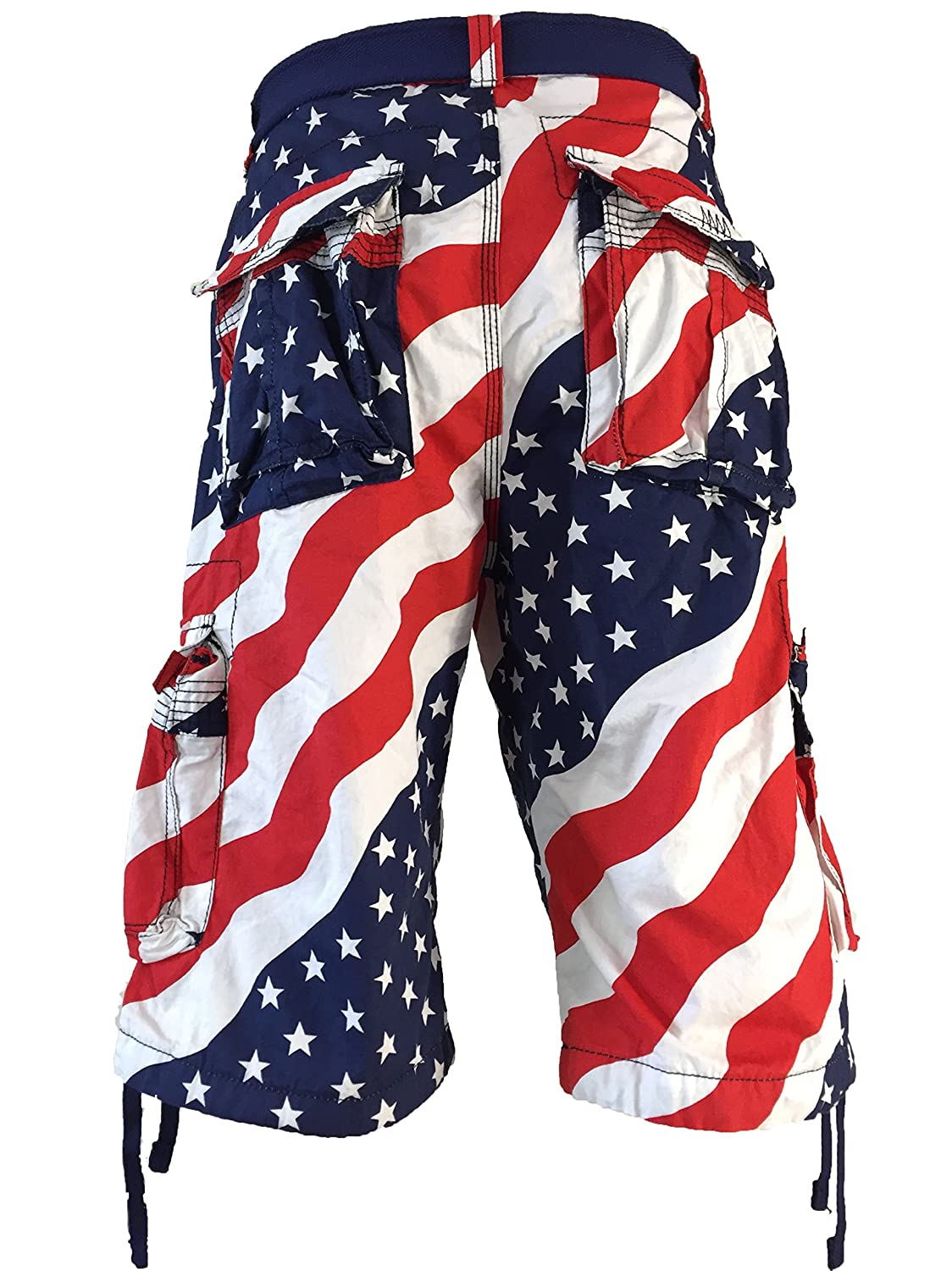 Men's Focus American Flag Cargo Shorts: Size 30 to 44