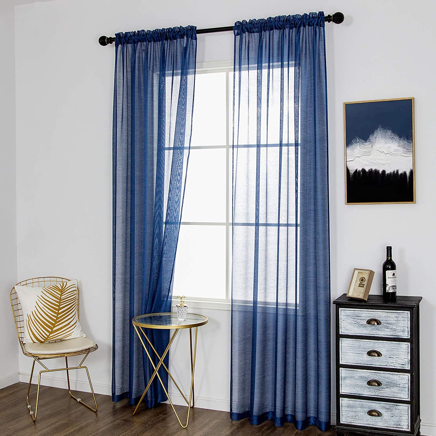 DUALIFE 96 Inches Long Navy Blue Curtains Sheer Room for Living Same Ranking TOP19 day shipping