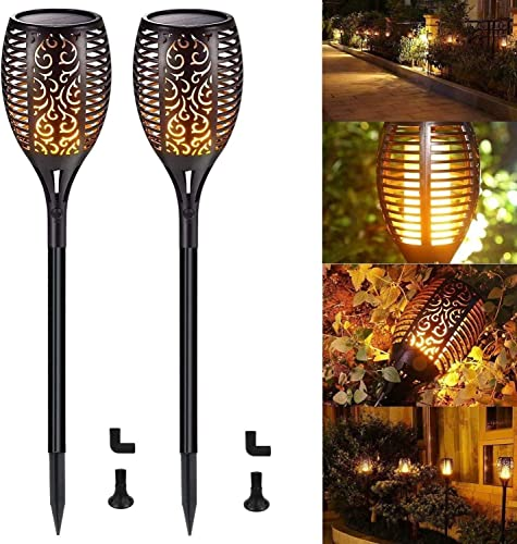 Solar Torch Lights Flickering Flames Waterproof Solar Lights Outdoor Landscape Decoration Lighting 96 LED Dusk to Dawn Auto On Off Security Torch Lights for Path Garden Pathway Patio Pack of 2