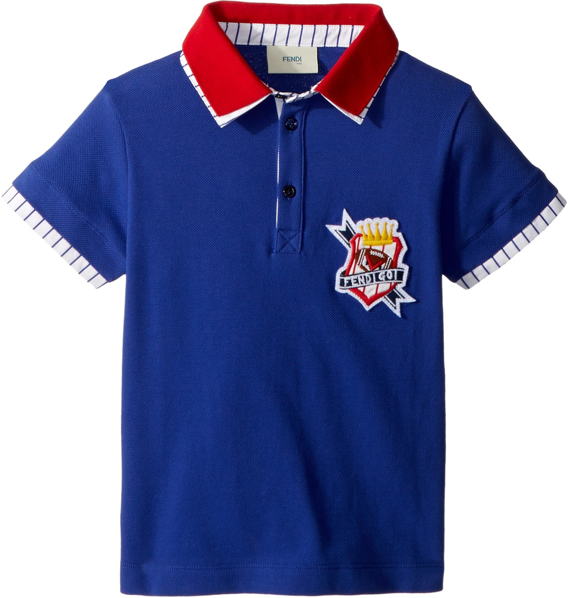 Fendi Kids Baby Boy's Short Sleeve Polo T-Shirt w/Football Design on Front (Toddler) Royal Blue 4 Years