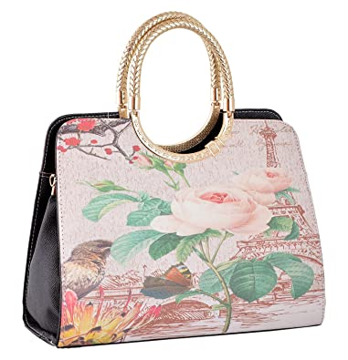 6a38256188c GOURibags Stylish Handbags Shoulder Leather Bag Women Ladies Girl Purse Office  Bag Gift Handbag Black  Amazon.in  Shoes   Handbags