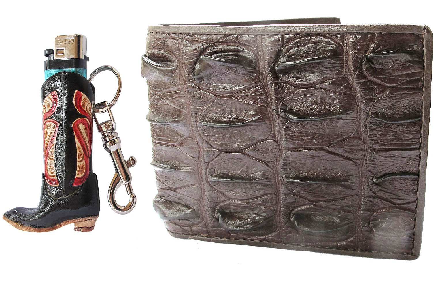 Danai Presents!. GENEUINE CROCODILE LEATHER BI FOLD WALLET US SIZE COME ALONG WITH LIGHTER CASE (BOOT)
