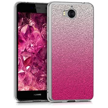 pick up 1d96e f16f5 kwmobile Case for Huawei Y6 (2017) - TPU Silicone Crystal Clear Back Case  Protective Cover IMD Design - Dark Pink/Silver/Transparent