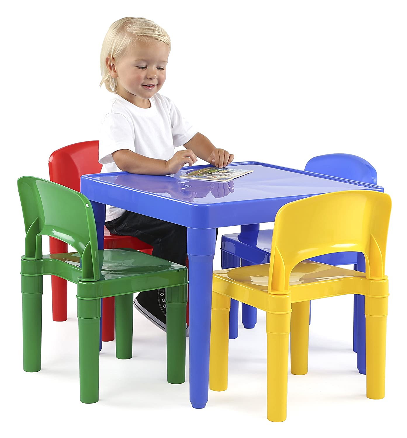 Amazon.com: Tot Tutors Kids Plastic Table And 4 Chairs Set, Primary Colors  (Primary Collection): Kitchen U0026 Dining